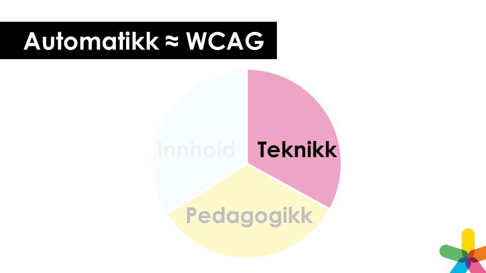 Automatikk ≈ WCAG Pedagogikk Teknikk Innhold