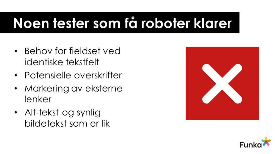 Noen tester som få roboter klarer Behov for fieldset ved identiske tekstfelt Potensielle overskrifter Markering av eksterne lenker Alt-tekst og synlig bildetekst som er lik