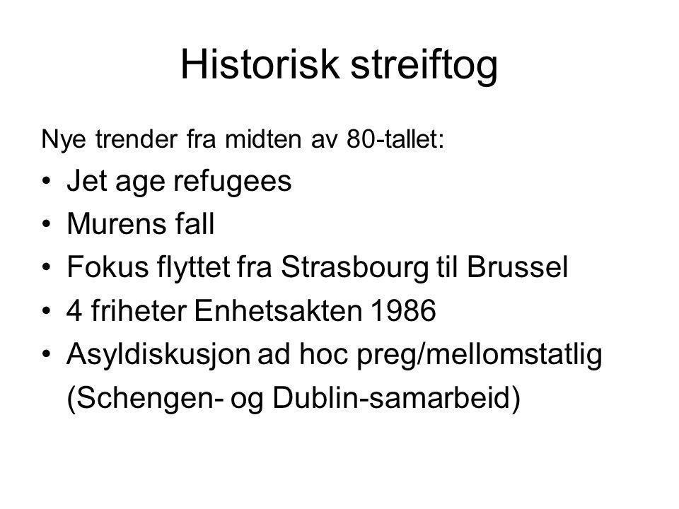Historisk streiftog Nye trender fra midten av 80-tallet: Jet age refugees Murens fall Fokus flyttet fra Strasbourg til Brussel 4 friheter Enhetsakten 1986 Asyldiskusjon ad hoc preg/mellomstatlig (Schengen- og Dublin-samarbeid)