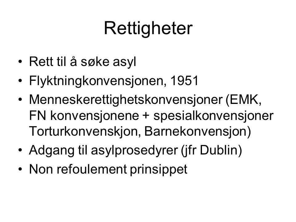 Rettigheter Rett til å søke asyl Flyktningkonvensjonen, 1951 Menneskerettighetskonvensjoner (EMK, FN konvensjonene + spesialkonvensjoner Torturkonvenskjon, Barnekonvensjon) Adgang til asylprosedyrer (jfr Dublin) Non refoulement prinsippet