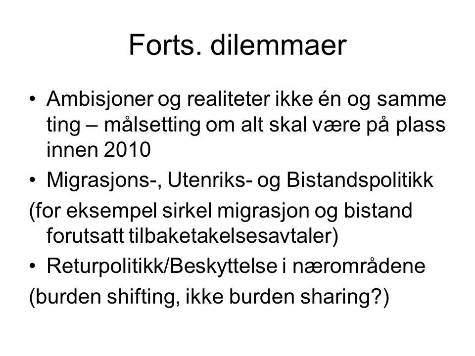 Forts. dilemmaer Ambisjoner og realiteter ikke én og samme ting – målsetting om alt skal være på plass innen 2010 Migrasjons-, Utenriks- og Bistandspo