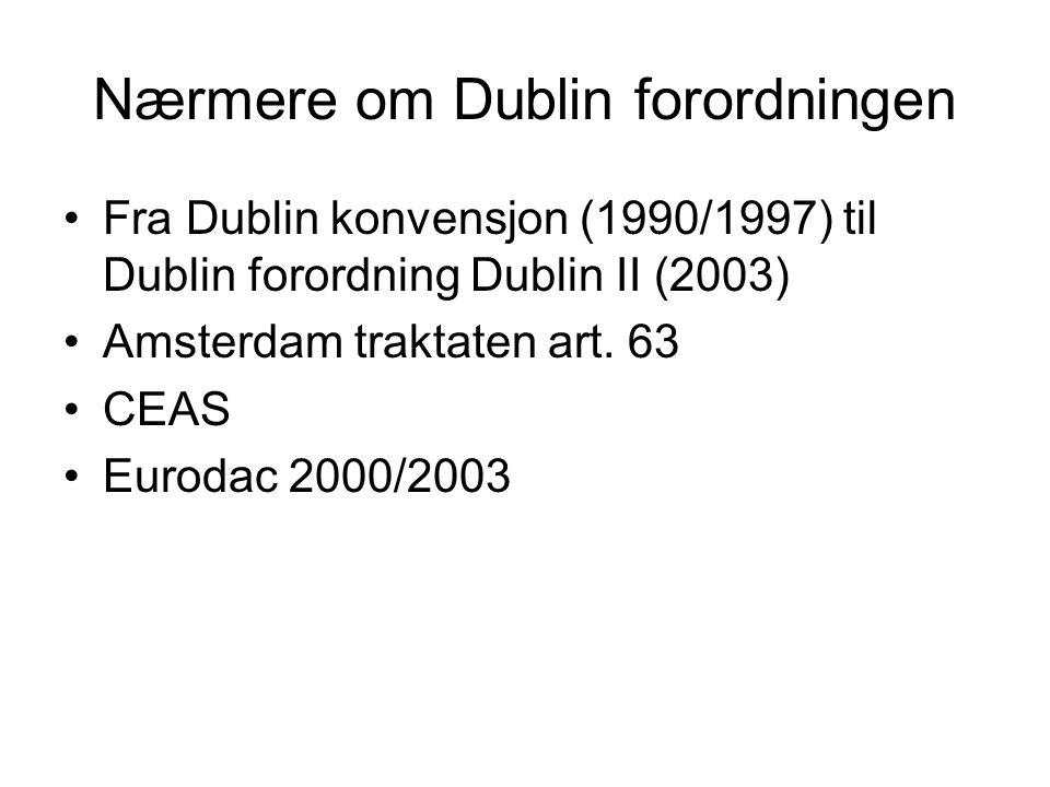 Nærmere om Dublin forordningen Fra Dublin konvensjon (1990/1997) til Dublin forordning Dublin II (2003) Amsterdam traktaten art.