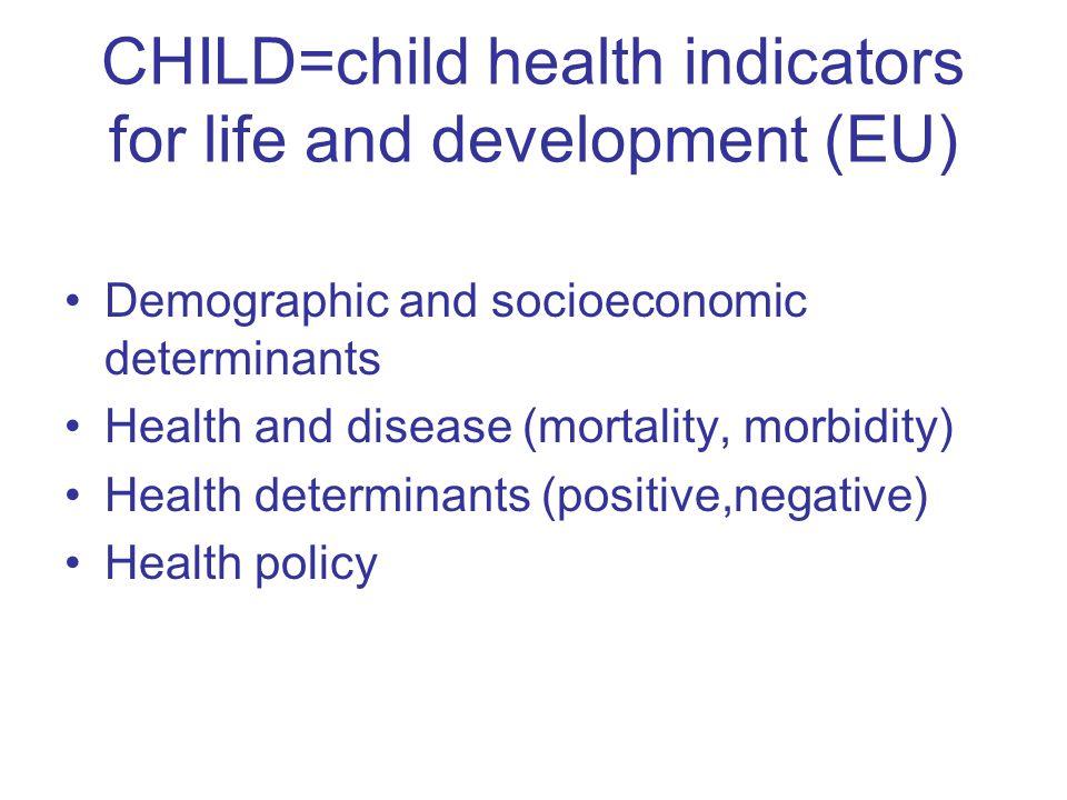 CHILD=child health indicators for life and development (EU) Demographic and socioeconomic determinants Health and disease (mortality, morbidity) Healt