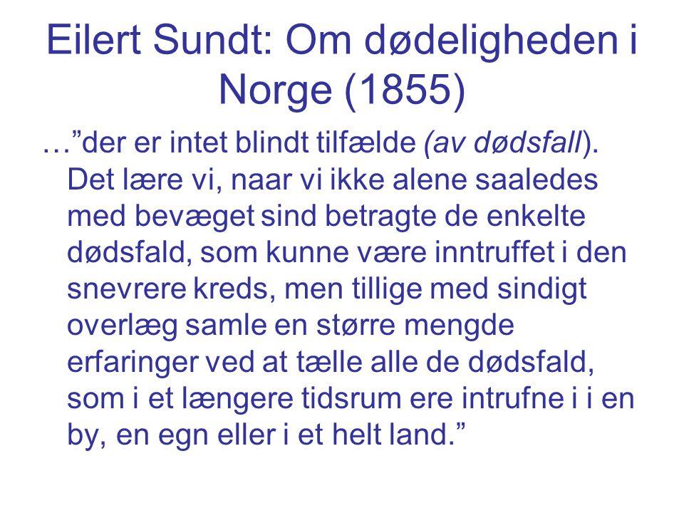 """Eilert Sundt: Om dødeligheden i Norge (1855) …""""der er intet blindt tilfælde (av dødsfall). Det lære vi, naar vi ikke alene saaledes med bevæget sind b"""