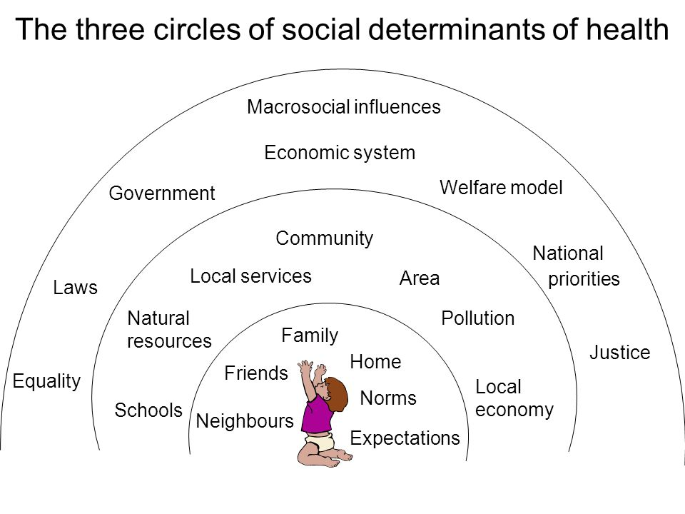 The three circles of social determinants of health Family Friends Neighbours Home Norms Expectations Community Area Local services Natural resources P
