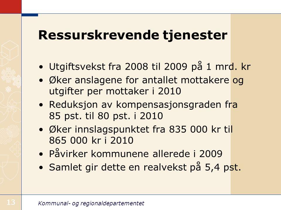 Kommunal- og regionaldepartementet 13 Ressurskrevende tjenester Utgiftsvekst fra 2008 til 2009 på 1 mrd. kr Øker anslagene for antallet mottakere og u