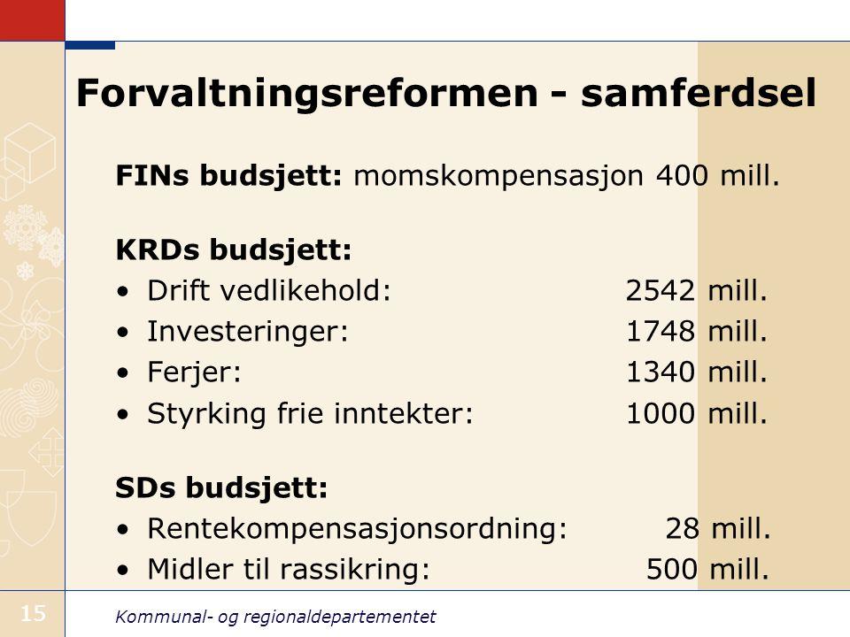Kommunal- og regionaldepartementet 15 Forvaltningsreformen - samferdsel FINs budsjett: momskompensasjon 400 mill. KRDs budsjett: Drift vedlikehold: 25