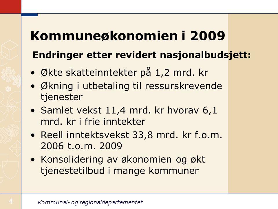 Kommunal- og regionaldepartementet 4 Kommuneøkonomien i 2009 Økte skatteinntekter på 1,2 mrd. kr Økning i utbetaling til ressurskrevende tjenester Sam
