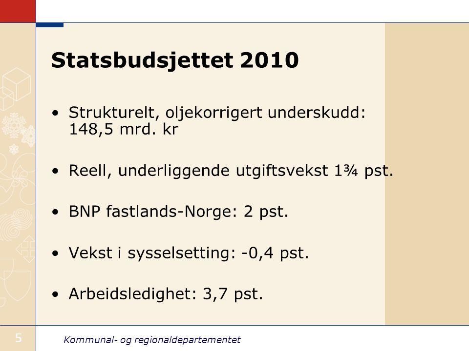 Kommunal- og regionaldepartementet 5 Statsbudsjettet 2010 Strukturelt, oljekorrigert underskudd: 148,5 mrd. kr Reell, underliggende utgiftsvekst 1¾ ps