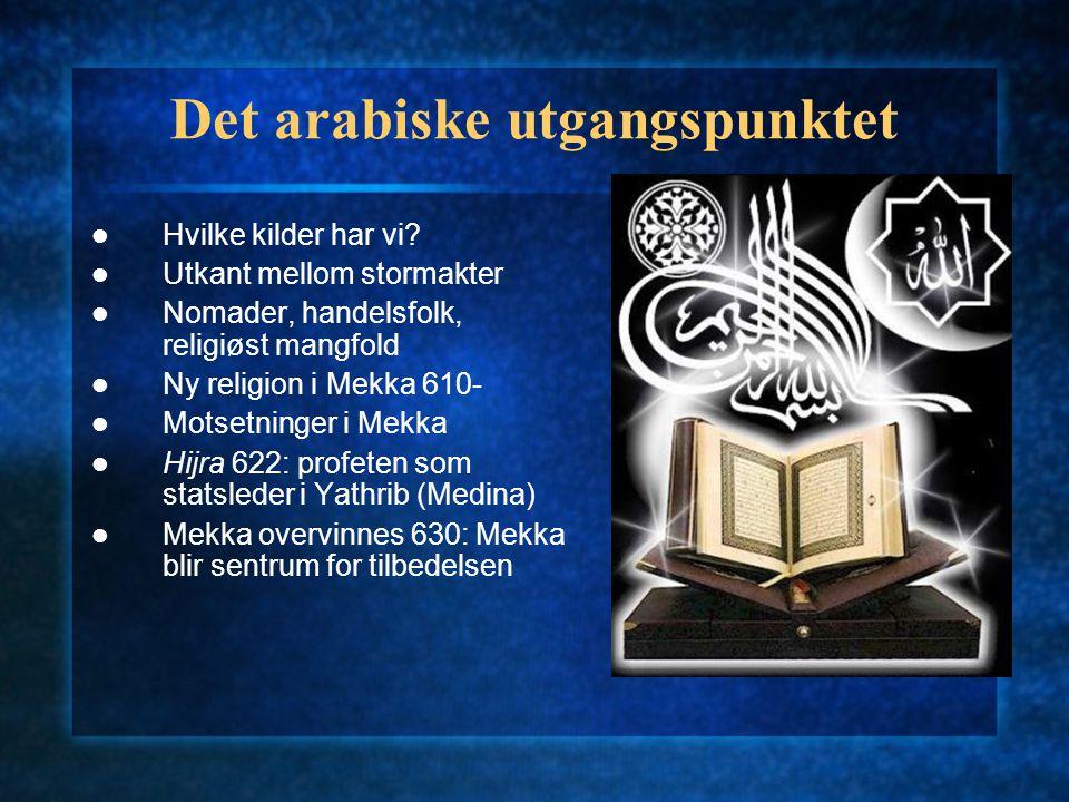 Det arabiske utgangspunktet Hvilke kilder har vi.