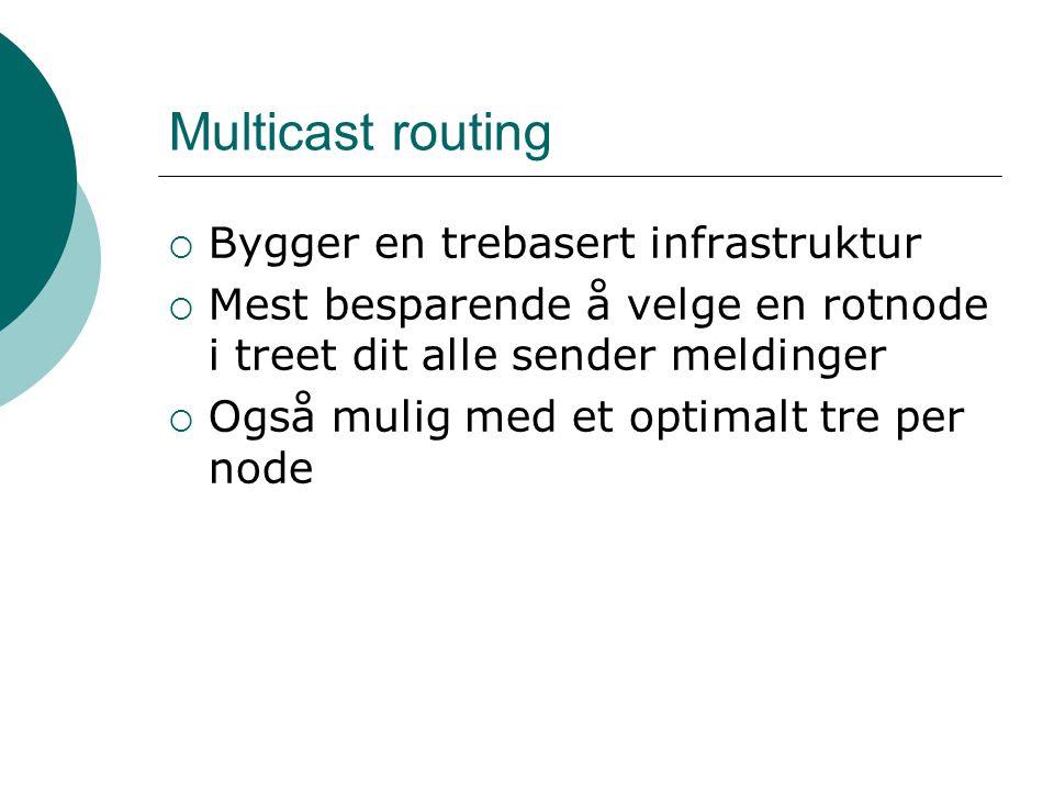 Multicast routing  Bygger en trebasert infrastruktur  Mest besparende å velge en rotnode i treet dit alle sender meldinger  Også mulig med et optimalt tre per node