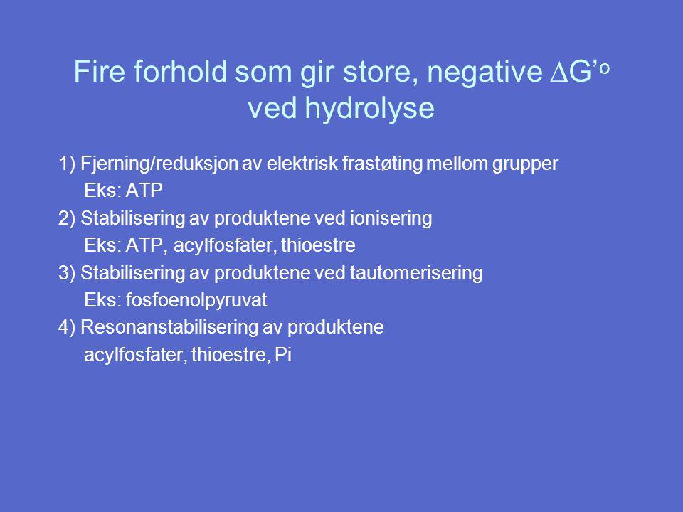 Fire forhold som gir store, negative  G' o ved hydrolyse 1) Fjerning/reduksjon av elektrisk frastøting mellom grupper Eks: ATP 2) Stabilisering av produktene ved ionisering Eks: ATP, acylfosfater, thioestre 3) Stabilisering av produktene ved tautomerisering Eks: fosfoenolpyruvat 4) Resonanstabilisering av produktene acylfosfater, thioestre, Pi