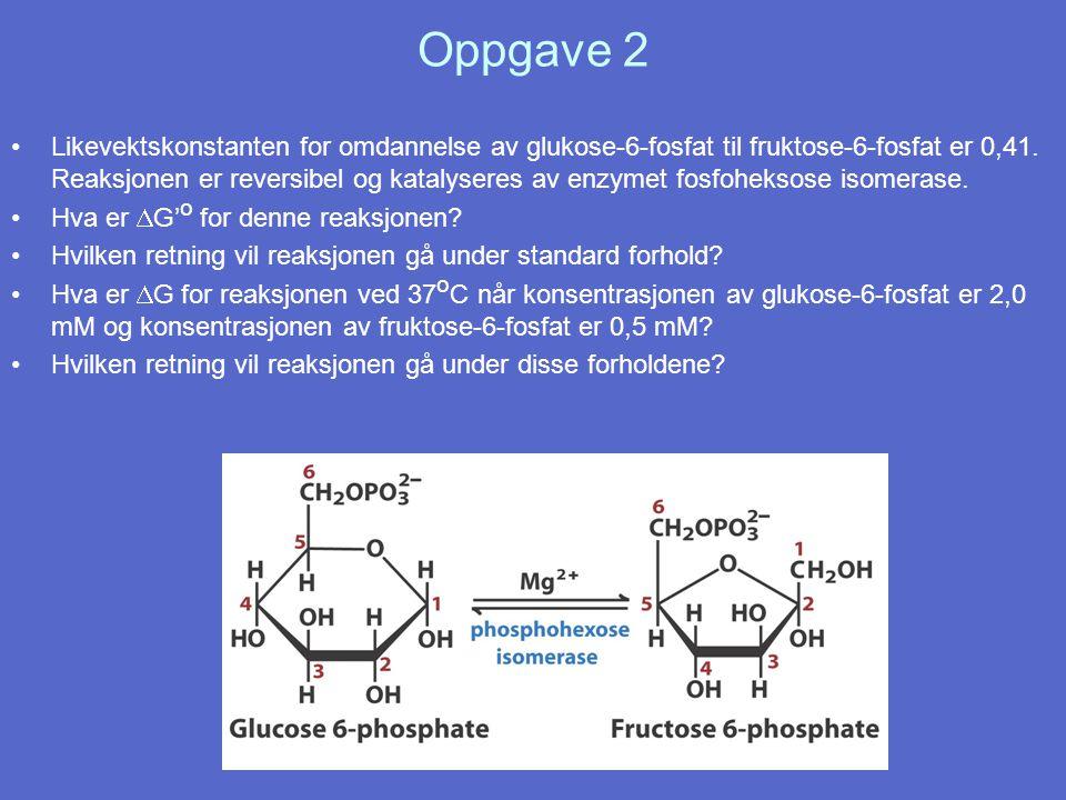 Oppgave 2 Likevektskonstanten for omdannelse av glukose-6-fosfat til fruktose-6-fosfat er 0,41.