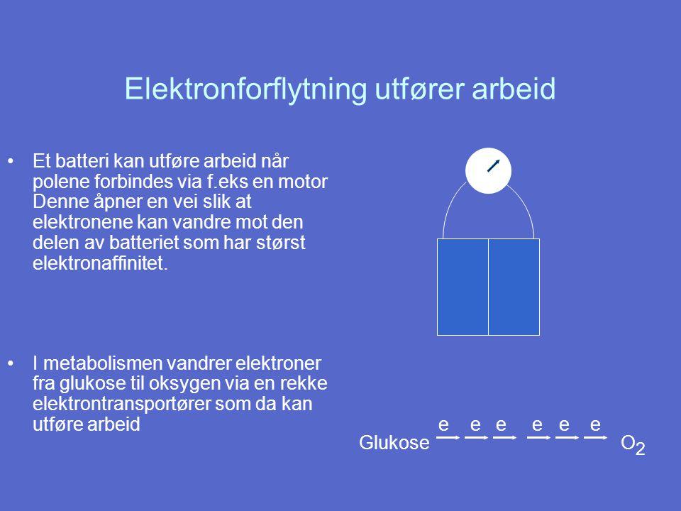 Elektronforflytning utfører arbeid Et batteri kan utføre arbeid når polene forbindes via f.eks en motor Denne åpner en vei slik at elektronene kan vandre mot den delen av batteriet som har størst elektronaffinitet.