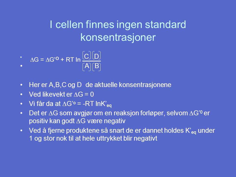 Reelt reduksjonspotensiale Nernst likning: E = E o + RT ln elektron mottaker nF elektron donor = E o + ln R = gasskonstanten T = o Kelvin n = antall elektroner overført/molekyle F = Faradays konstant 0,026 V n elektron mottaker elektron donor