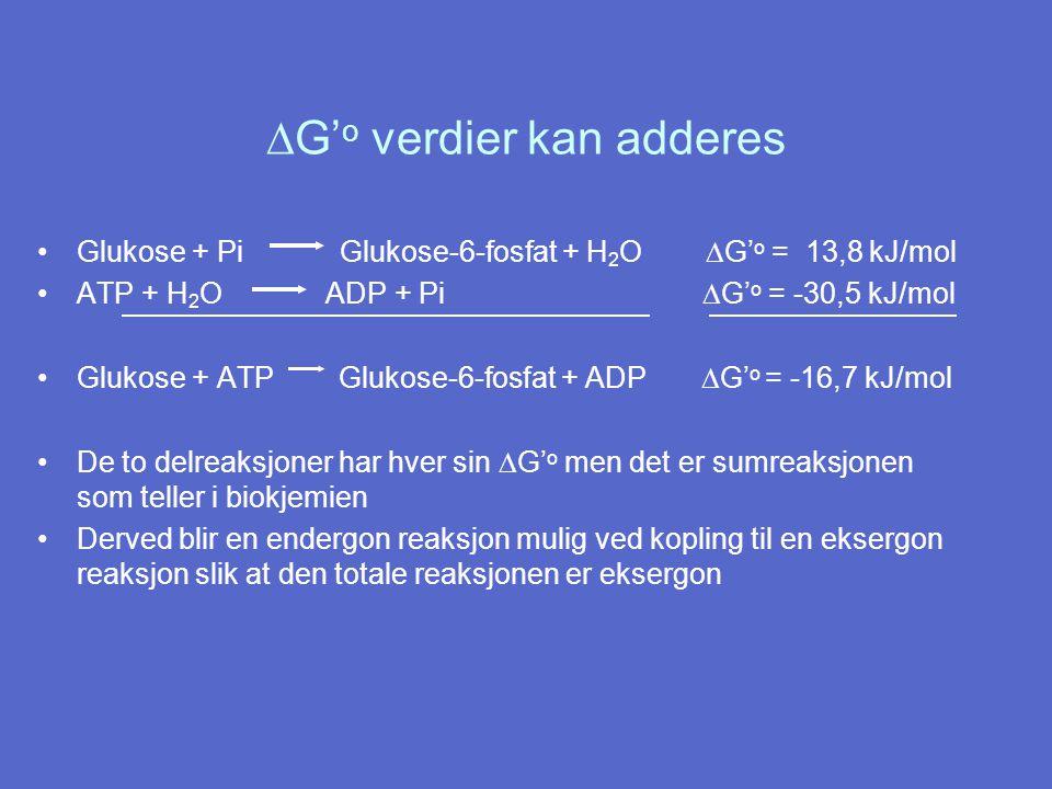  G' o verdier kan adderes Glukose + Pi Glukose-6-fosfat + H 2 O  G' o = 13,8 kJ/mol ATP + H 2 O ADP + Pi  G' o = -30,5 kJ/mol Glukose + ATP Glukose-6-fosfat + ADP  G' o = -16,7 kJ/mol De to delreaksjoner har hver sin  G' o men det er sumreaksjonen som teller i biokjemien Derved blir en endergon reaksjon mulig ved kopling til en eksergon reaksjon slik at den totale reaksjonen er eksergon
