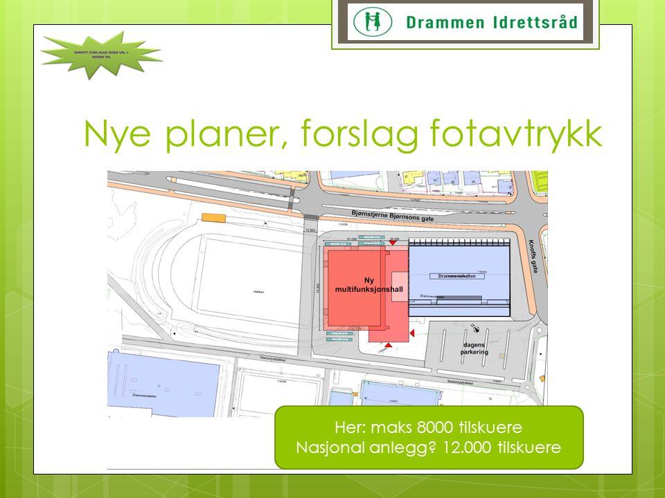 Nye planer, forslag fotavtrykk Her: maks 8000 tilskuere Nasjonal anlegg? 12.000 tilskuere