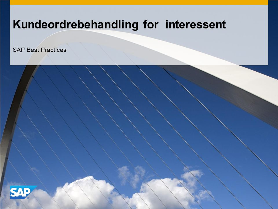 Kundeordrebehandling for interessent SAP Best Practices