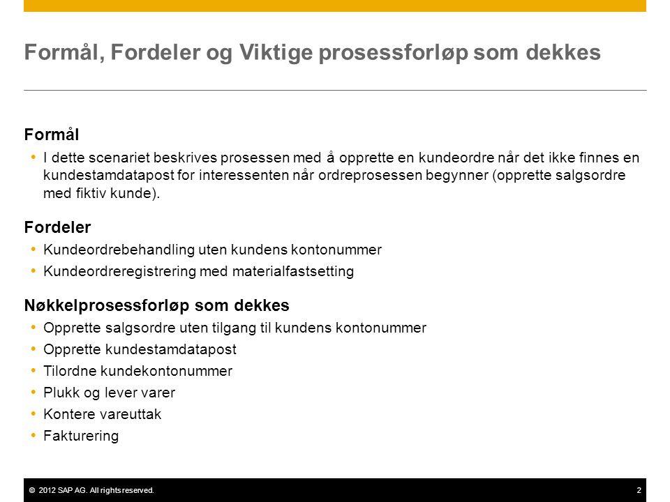 ©2012 SAP AG. All rights reserved.2 Formål, Fordeler og Viktige prosessforløp som dekkes Formål  I dette scenariet beskrives prosessen med å opprette