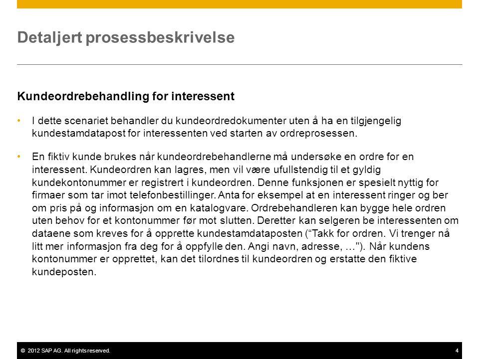 ©2012 SAP AG. All rights reserved.4 Detaljert prosessbeskrivelse Kundeordrebehandling for interessent I dette scenariet behandler du kundeordredokumen