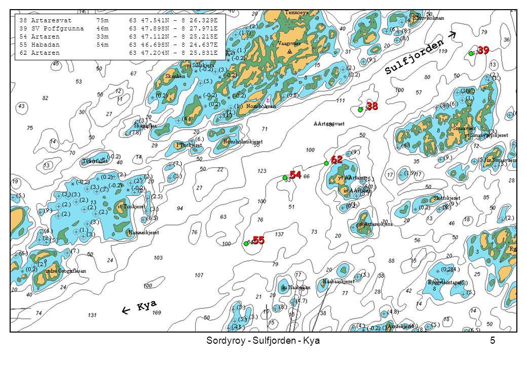 Sordyroy - Sulfjorden - Kya5 38 Artaresvat 75m 63 47.541N - 8 26.329E 39 SV Poffgrunna 46m 63 47.898N - 8 27.971E 54 Artaren 33m 63 47.112N - 8 25.215