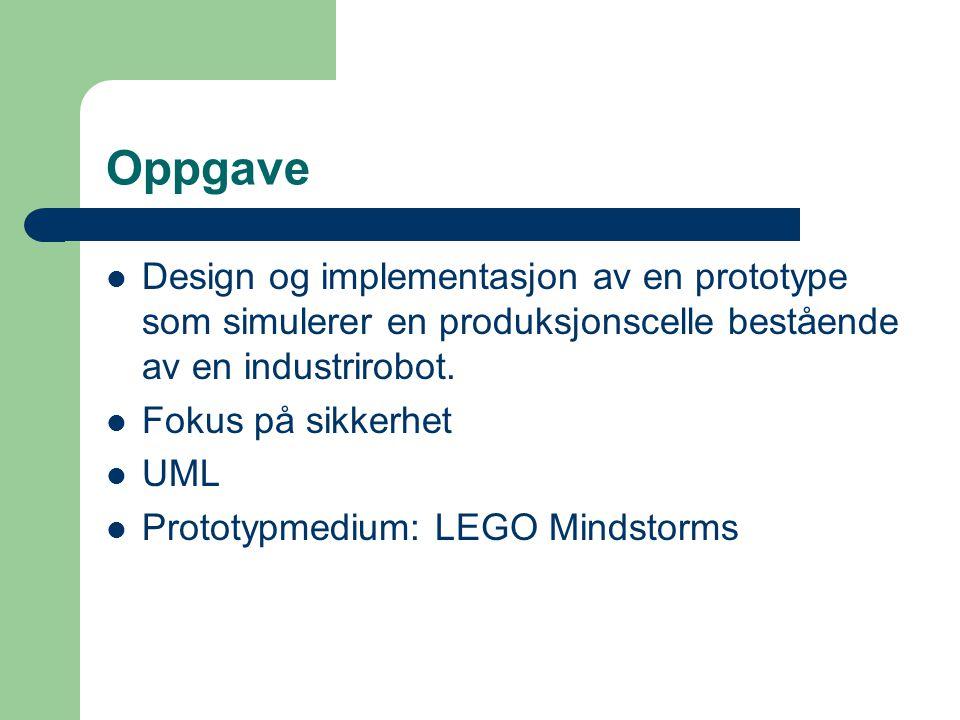Oppgave Design og implementasjon av en prototype som simulerer en produksjonscelle bestående av en industrirobot. Fokus på sikkerhet UML Prototypmediu
