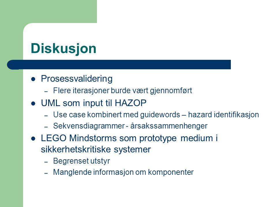 Diskusjon Prosessvalidering – Flere iterasjoner burde vært gjennomført UML som input til HAZOP – Use case kombinert med guidewords – hazard identifikasjon – Sekvensdiagrammer - årsakssammenhenger LEGO Mindstorms som prototype medium i sikkerhetskritiske systemer – Begrenset utstyr – Manglende informasjon om komponenter