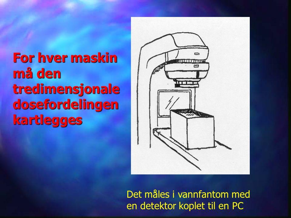 For hver maskin må den tredimensjonale dosefordelingen kartlegges Det måles i vannfantom med en detektor koplet til en PC