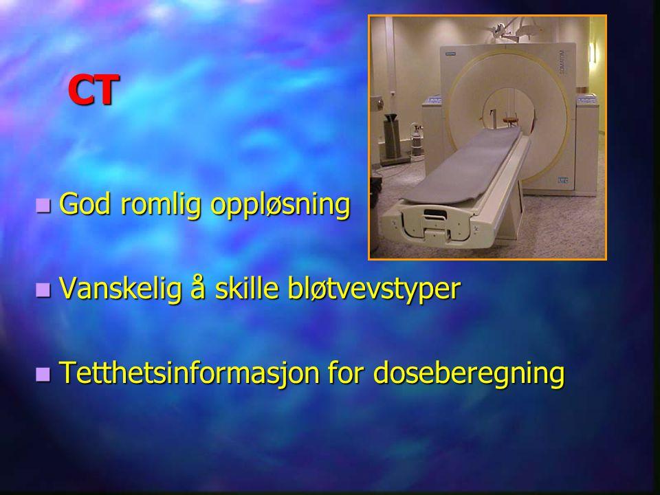 CT God romlig oppløsning God romlig oppløsning Vanskelig å skille bløtvevstyper Vanskelig å skille bløtvevstyper Tetthetsinformasjon for doseberegning Tetthetsinformasjon for doseberegning