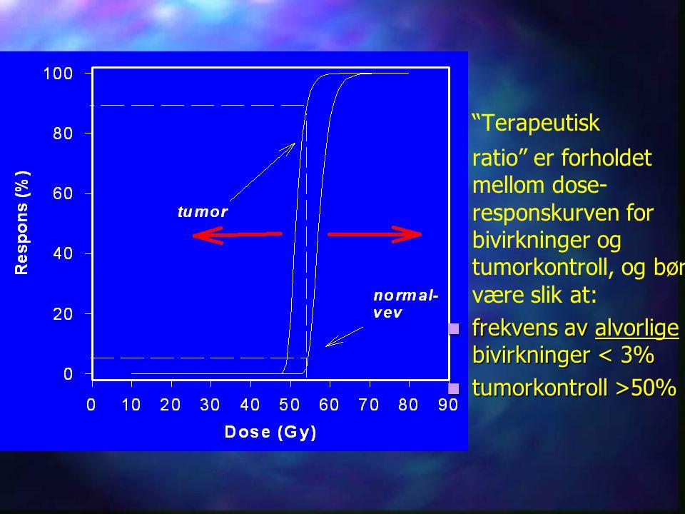 Fraksjonering Fraksjonering Celle-overlevelse etter en stråledose D, for nomale celler og tumorceller.