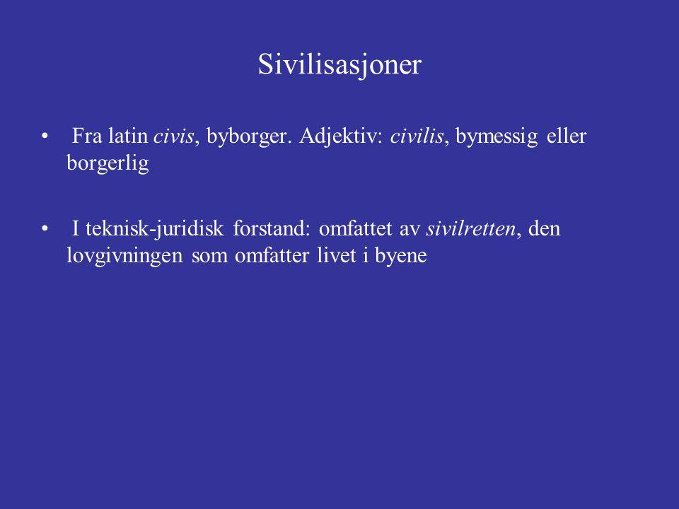 Sivilisasjoner Fra latin civis, byborger. Adjektiv: civilis, bymessig eller borgerlig I teknisk-juridisk forstand: omfattet av sivilretten, den lovgiv