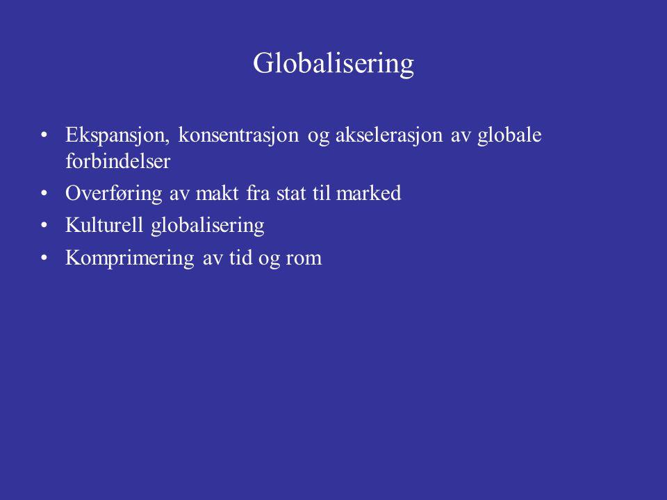 Globalisering Ekspansjon, konsentrasjon og akselerasjon av globale forbindelser Overføring av makt fra stat til marked Kulturell globalisering Komprim