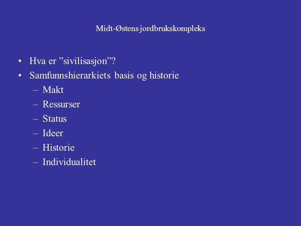 """Midt-Østens jordbrukskompleks Hva er """"sivilisasjon""""? Samfunnshierarkiets basis og historie –Makt –Ressurser –Status –Ideer –Historie –Individualitet"""
