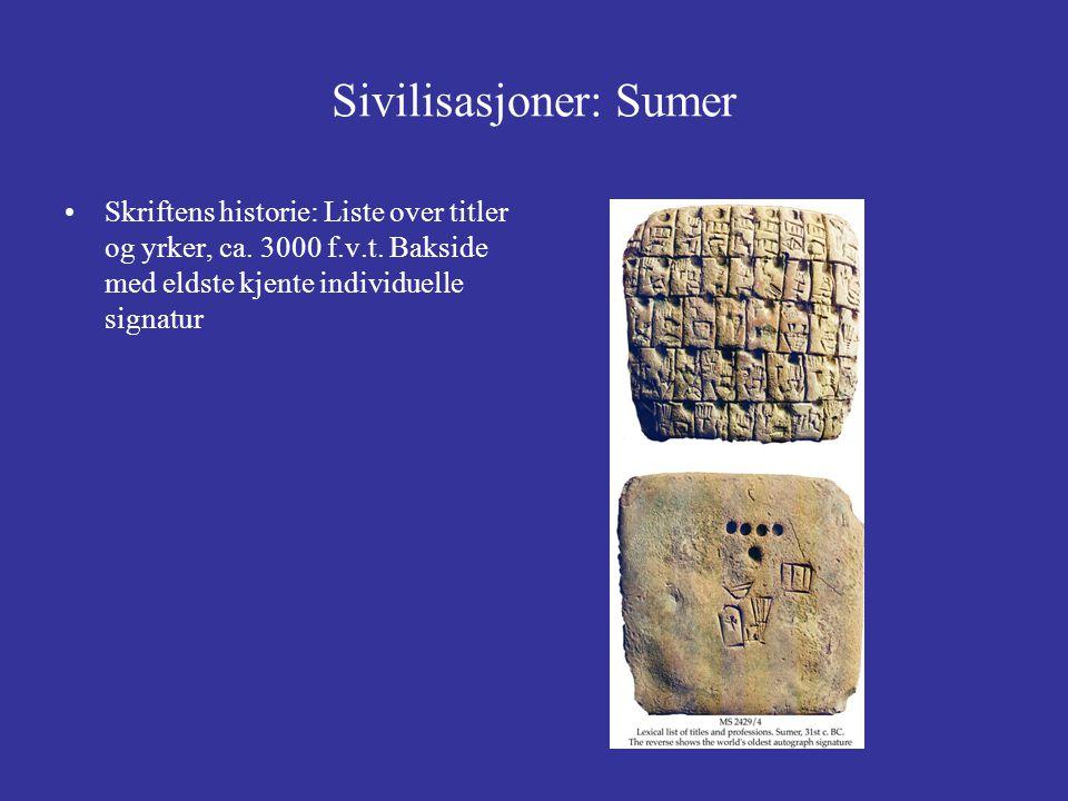 Sivilisasjoner: Sumer Skriftens historie: Liste over titler og yrker, ca. 3000 f.v.t. Bakside med eldste kjente individuelle signatur