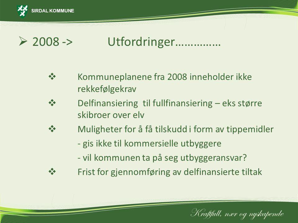 SIRDAL KOMMUNE Kraftfull, nær og nyskapende  2008 ->Utfordringer……………  Kommuneplanene fra 2008 inneholder ikke rekkefølgekrav  Delfinansiering til