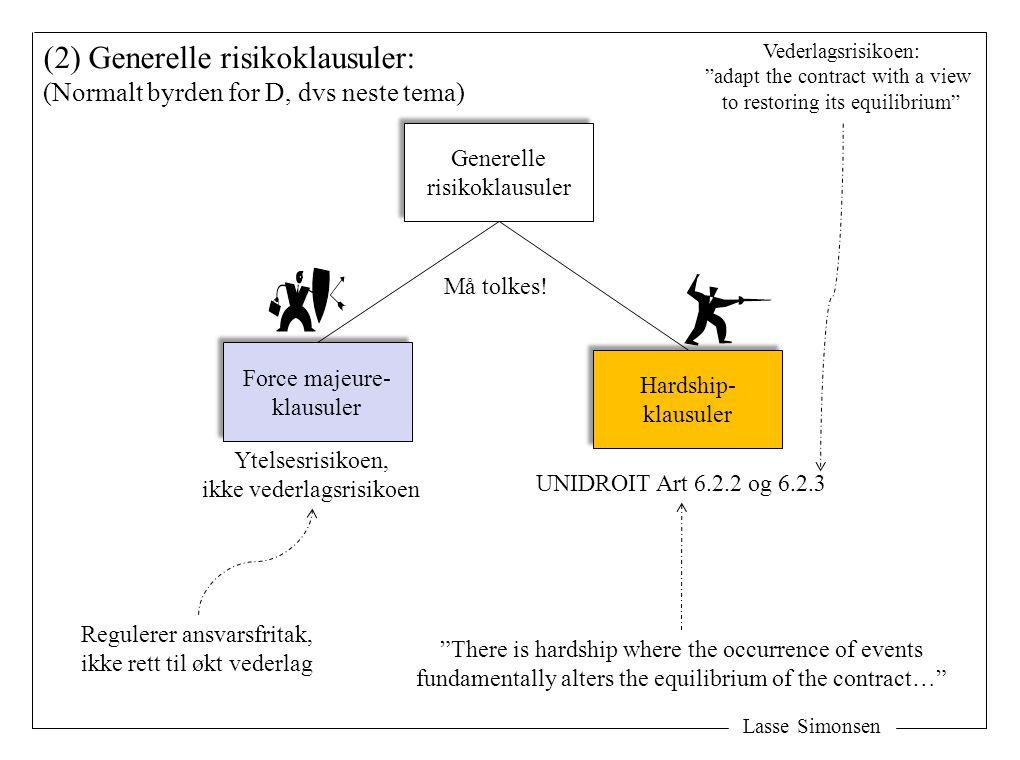 Lasse Simonsen (2) Generelle risikoklausuler: (Normalt byrden for D, dvs neste tema) Force majeure- klausuler Force majeure- klausuler Ytelsesrisikoen