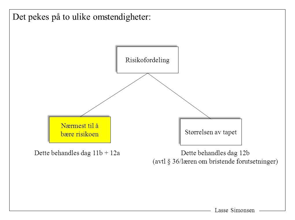 Lasse Simonsen Det pekes på to ulike omstendigheter: Risikofordeling Nærmest til å bære risikoen Nærmest til å bære risikoen Størrelsen av tapet Dette