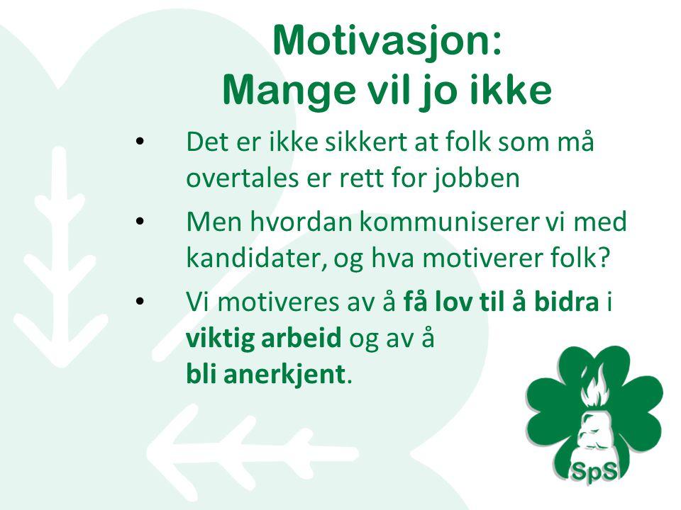 Motivasjon: Mange vil jo ikke Det er ikke sikkert at folk som må overtales er rett for jobben Men hvordan kommuniserer vi med kandidater, og hva motiverer folk.
