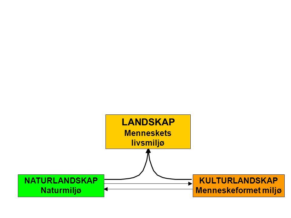 LANDSKAP Menneskets livsmiljø NATURLANDSKAP Naturmiljø KULTURLANDSKAP Menneskeformet miljø
