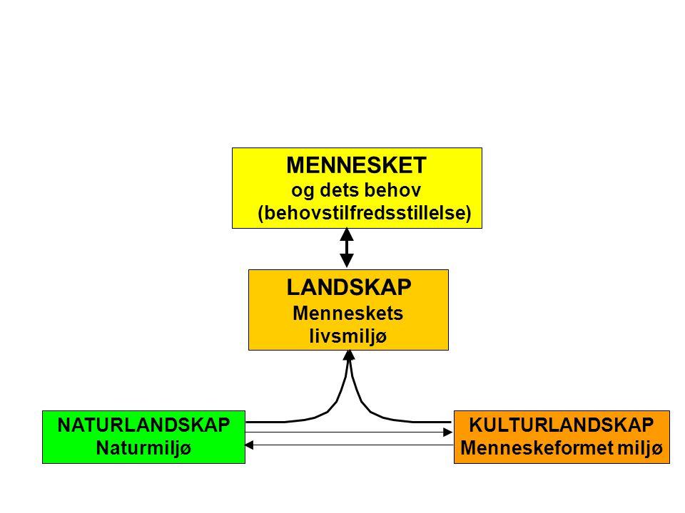 LANDSKAP Menneskets livsmiljø MENNESKET og dets behov (behovstilfredsstillelse) NATURLANDSKAP Naturmiljø KULTURLANDSKAP Menneskeformet miljø