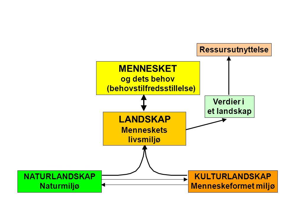 LANDSKAP Menneskets livsmiljø Ressursutnyttelse Verdier i et landskap MENNESKET og dets behov (behovstilfredsstillelse) NATURLANDSKAP Naturmiljø KULTURLANDSKAP Menneskeformet miljø