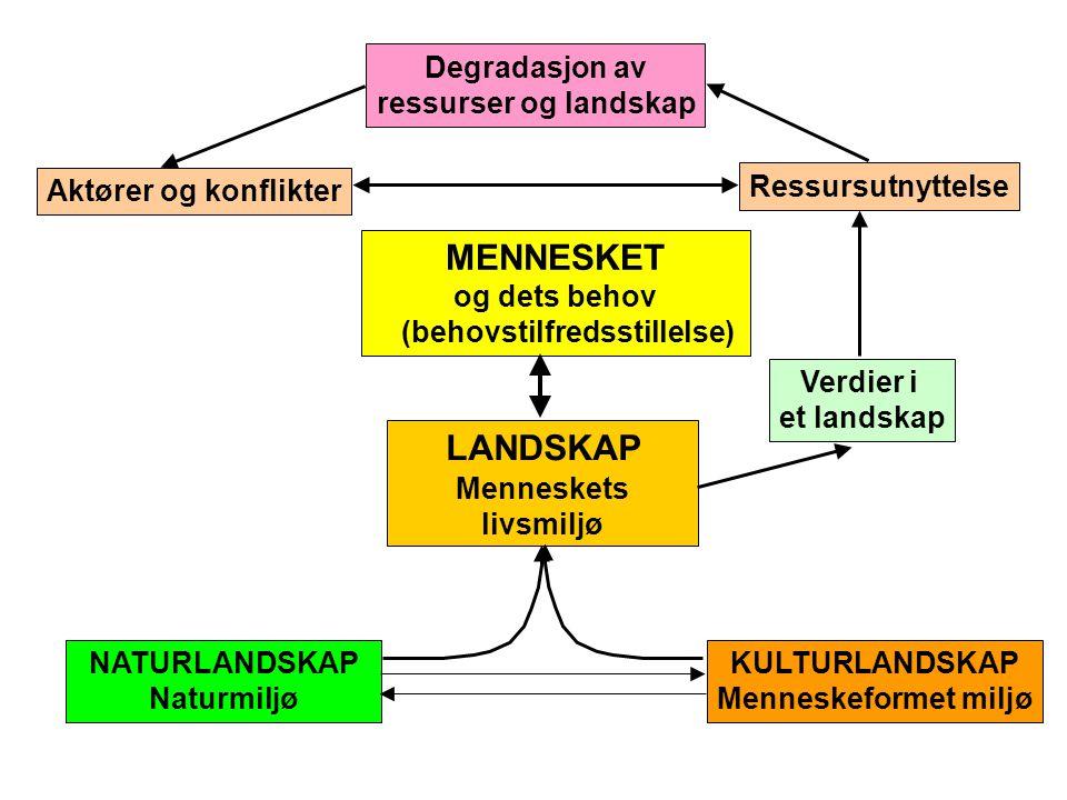 LANDSKAP Menneskets livsmiljø Degradasjon av ressurser og landskap Ressursutnyttelse Verdier i et landskap Aktører og konflikter MENNESKET og dets beh