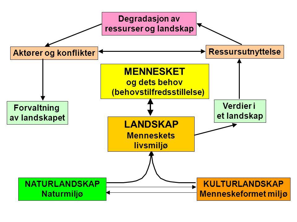 LANDSKAP Menneskets livsmiljø Degradasjon av ressurser og landskap Ressursutnyttelse Verdier i et landskap Aktører og konflikter Forvaltning av landsk