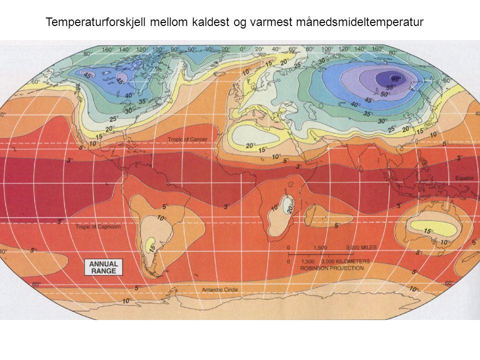 Temperaturforskjell mellom kaldest og varmest månedsmideltemperatur