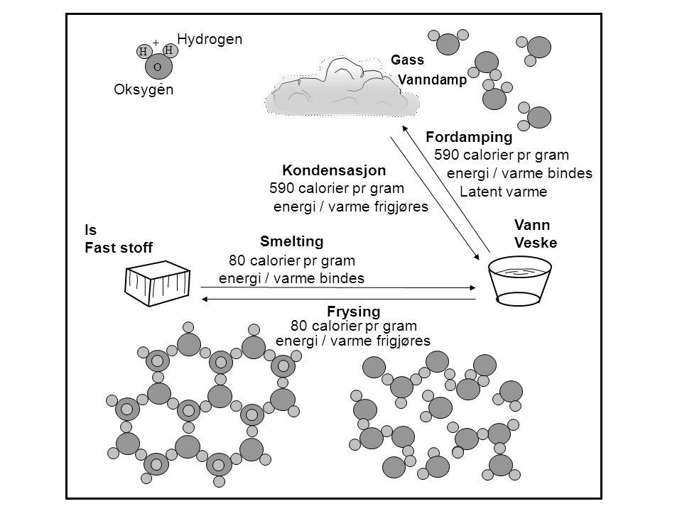 Hydrogen Oksygen Smelting 80 calorier pr gram energi / varme bindes Frysing 80 cal pr gram Energi / varme frigjøres Frysing 80 calorier pr gram energi