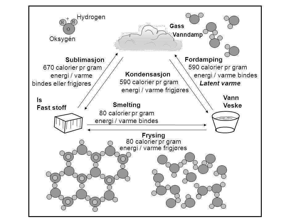 Hydrogen Oksygen Smelting 80 calorier pr gram energi / varme bindes Frysing 80 cal pr gram Energi / varme frigjøres Kondensasjon 590 calorier pr gram energi / varme frigjøres Frysing 80 calorier pr gram energi / varme frigjøres Gass Vanndamp Fordamping 590 calorier pr gram energi / varme bindes Latent varme Sublimasjon 670 calorier pr gram energi / varme bindes eller frigjøres Is Fast stoff Vann Veske