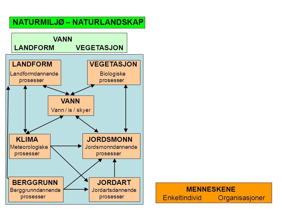 VANN LANDFORM VEGETASJON NATURMILJØ – NATURLANDSKAP MENNESKENE Enkeltindivid Organisasjoner LANDFORM VEGETASJON Landformdannende Biologiske prosesser
