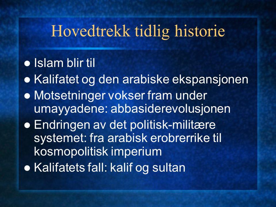 Hovedtrekk tidlig historie Islam blir til Kalifatet og den arabiske ekspansjonen Motsetninger vokser fram under umayyadene: abbasiderevolusjonen Endri