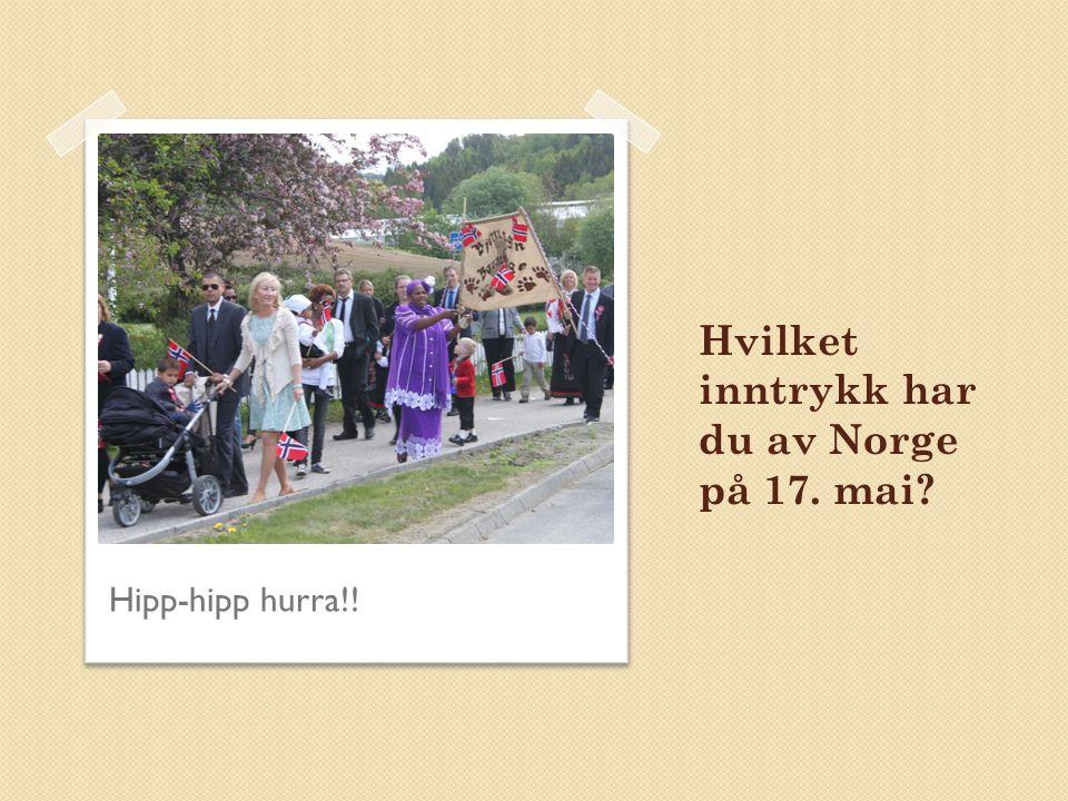 Hvilket inntrykk har du av Norge på 17. mai? Hipp-hipp hurra!!