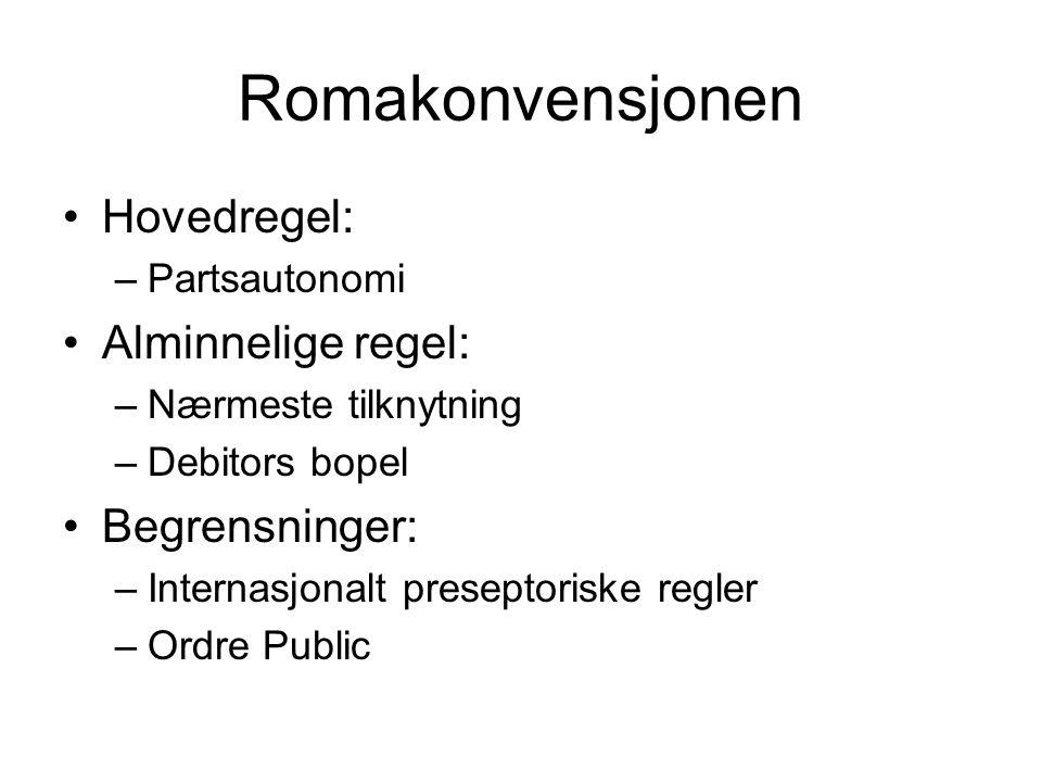 Romakonvensjonen Hovedregel: –Partsautonomi Alminnelige regel: –Nærmeste tilknytning –Debitors bopel Begrensninger: –Internasjonalt preseptoriske regler –Ordre Public